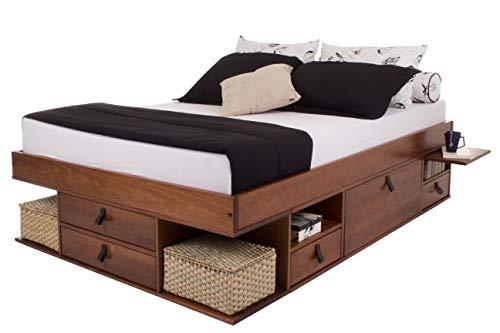Funktionsbett Bali 160x200 Karamell - Bett mit viel Stauraum und Schubladen, optimal für kleine Schlafzimmer - Modernes Stauraumbett aus Kiefer Massivholz - Preis inkl. Lattenrost