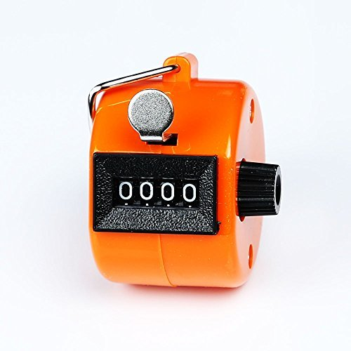 Sinddy Assorted Color Handheld Tally Counter 4 Digit Display for Lap/Sport/Coach/School/Event (Orange)