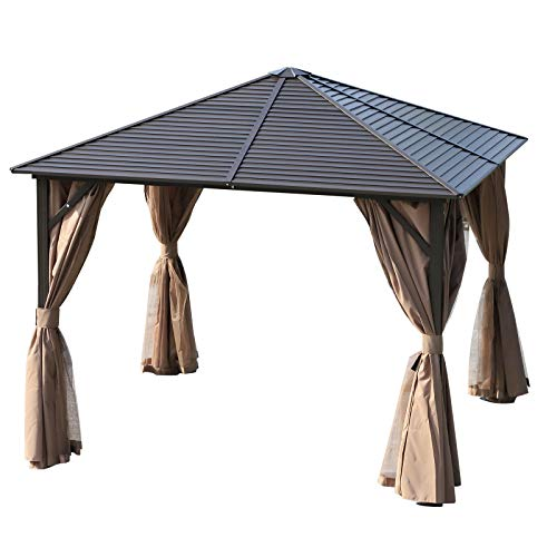 Outsunny 3 x 3 Meters Patio Aluminium Gazebo Hardtop Metal Roof Canopy Party Tent Garden Outdoor Shelter with Mesh Curtains & Side Walls - Brown