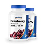 Nutricost Cranberry Extract 25,000mg (120 Servings) 2 Bottles with Vitamin C and Vitamin E