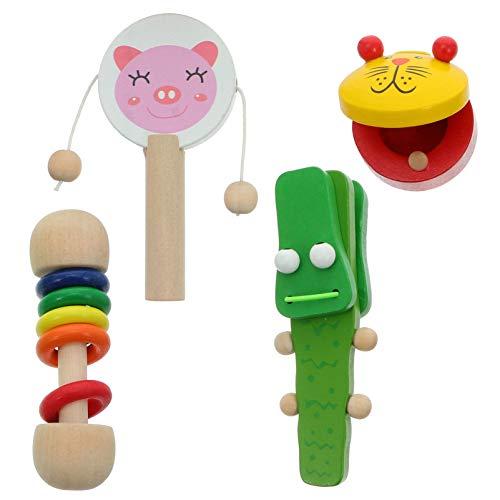 TOYANDONA 1 Juego de Instrumentos Musicales para Niños Claquetas de Dibujos Animados Juguetes de Madera Juguetes Educativos para Animales Regalos para Niños ( Color Al Azar )