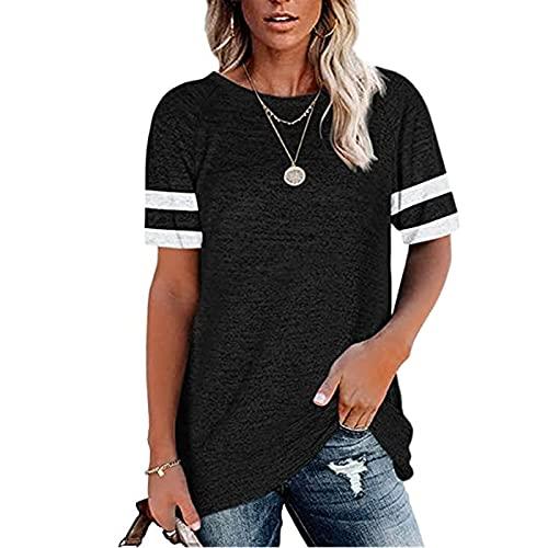 Camiseta de manga larga para mujer, cuello redondo, color bloque Negro2 S