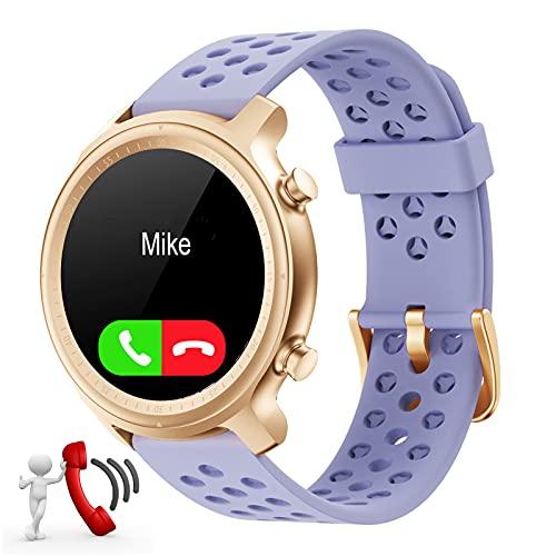 Reloj Inteligente Mujer con Responda Llamadas,Reloj Deportivo Llamadas Smartwatch Mujer Impermeable con Whatsapp Mensajes Pasos Pulsómetro para Huawei Xiaomi Samsung Android iOS (Morado)