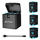 Artman Hero 9 Batteries 3-Pack(1800mAh) and 3-Channel USB Storage Quick Charger for Gopro Hero 9 Black, Fully Compatible with Gopro Hero 9 Battery and Hero 9 Charger