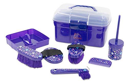 AMKA Pferde Putzbox MONDA Stars Putzkasten Putzkoffer gefüllt für Kinder 6 teilig in lila