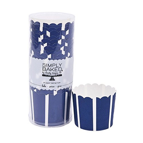 Simply Baked Large Paper Baking Cup, 550-Pack, Navy With White Vertical Stripes