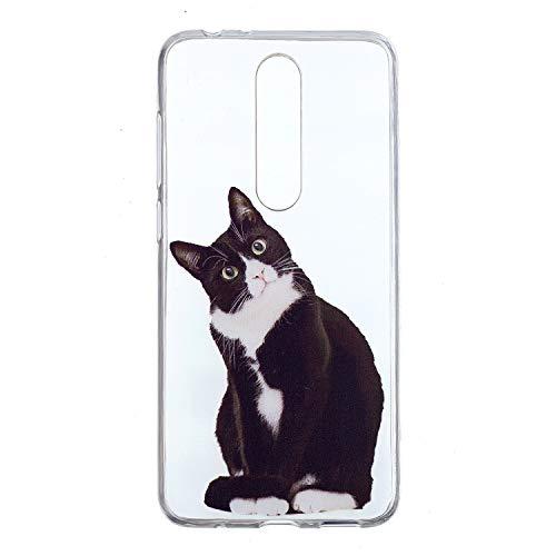 COZY HUT Custodia per Nokia 5.1 Plus/Nokia X5, Cover Protettiva in Silicone Morbido Ultra Sottile TPU Bumper AntiGraffio Trasparente Morbido Cover per Nokia 5.1 Plus/Nokia X5 - Domanda Cat