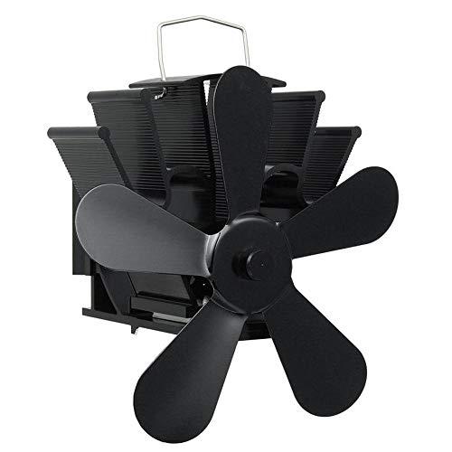 JWC Ventilador de Chimenea para Estufa de leña de 5 aspas, Ventiladores de Estufa de Calor, Funcionamiento silencioso Mejorado, para Estufas de leña de leña a Gas