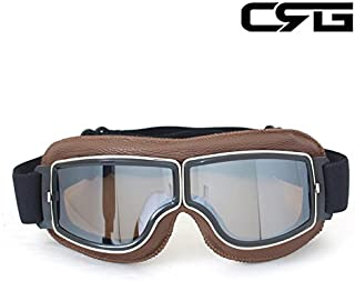 CRG Sports Vintage Aviator Pilot Style Motorcycle Cruiser Scooter Goggle T13 T13BSN Silver Lens Brown Padding