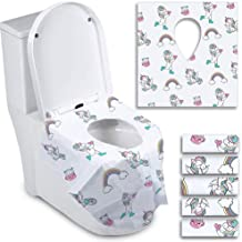 Disposable Toilet Seat Covers for Toddlers - Individually Wrapped Unicorn Potty Training Liners for Kids - Portable with Non-Slip Adhesives - Extra Large Size - Road Trip Essentials