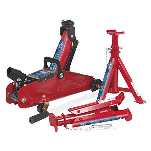Sealey Trolley Jack 2tonne Short Chassis with Axle Stands and Storage Case