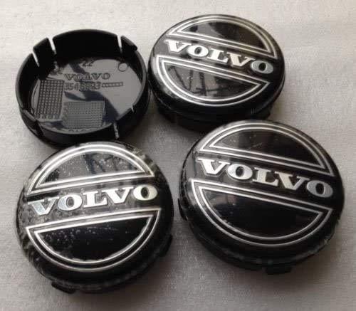 MISSLYY 4 Piezas Coche Tapas Centrales de Llantas para Volvo V40 V60 S60 S80 XC60 XC90,con el Logotipo De Insignia Rueda Tapas De Centro Prueba De Polvo Accesorios De Decorativo De Automóvil,64mm