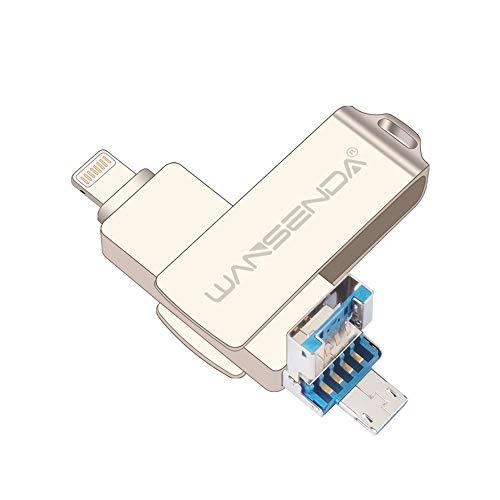 Wansenda - Memoria USB 3 en 1 OTG USB 3.0 de alta velocidad, 16 GB, 32 GB, 64 GB, 128 GB, unidad USB de metal para iPhone iOS/Android/Mac/PC (64.00GB), color plateado