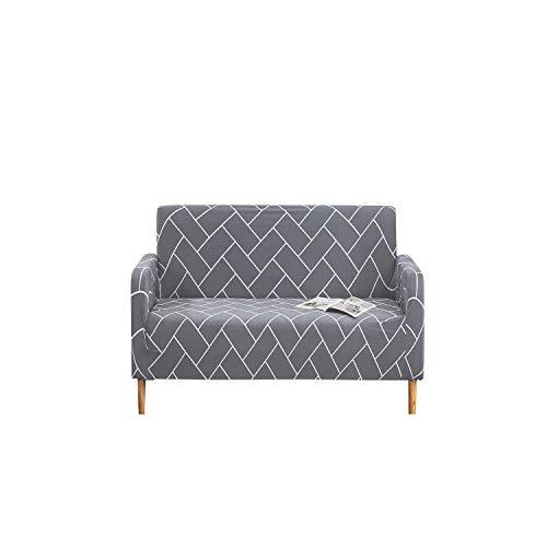 Funda para sofá con alfileres Funda elástica para sofá Fundas para sofá de 1, 2, 3, 4 plazas (Gris Claro y Blanco), Elastano Antideslizante de Primera Calidad,