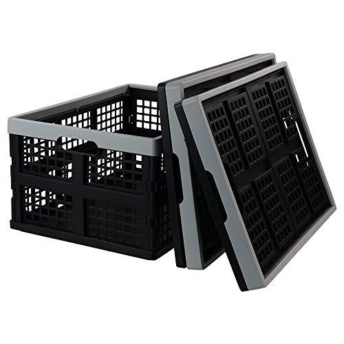 Jekiyo 34-Liter Folding Crates Storage, Collapsible Container Plastic, Set of 3