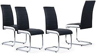 IDMarket - Lot de 4 chaises MIA Noires liseré Blanc pour Salle à Manger