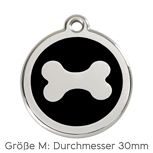 Red Dingo Hundemarke Knochen inklusive Gravur (M, schwarz)