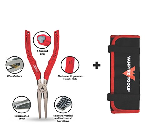 VAMPLIERS World's Best Pliers! Long Nose 7.5' Specialty Screw Extraction Pliers + Free Vampire Tools Pouch Black Friday Cyber Monday Week Deal, Makes the Best Gift (Pliers W/FREE Pouch)