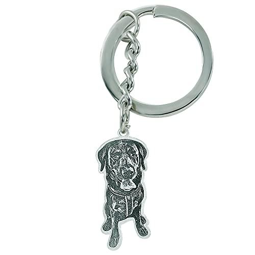 Personalisiert Schlüsselanhänger Personalisierte Hund Katze Haustier Foto Schlüsselbund mit Text Gravur 925 Silber für Liebhaber