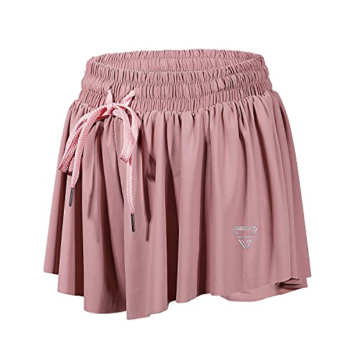 luogongzi 2 in 1 Flowy Yoga Shorts for Women Athletic Running Workout Gym Sports Active Exercise Comfy Lounge Skirts Summer (S, Pink)