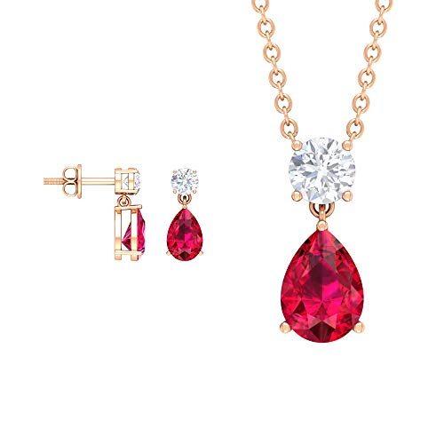Ruby Pendant and Earrings Set 1.75 CT, D-VSSI Moissanite Jewelry Set 1/3 CT, Gold Pendant and Earring Set (4X6 MM, 5X7 MM Pear Shaped Ruby), 14K Rose Gold Without Chain