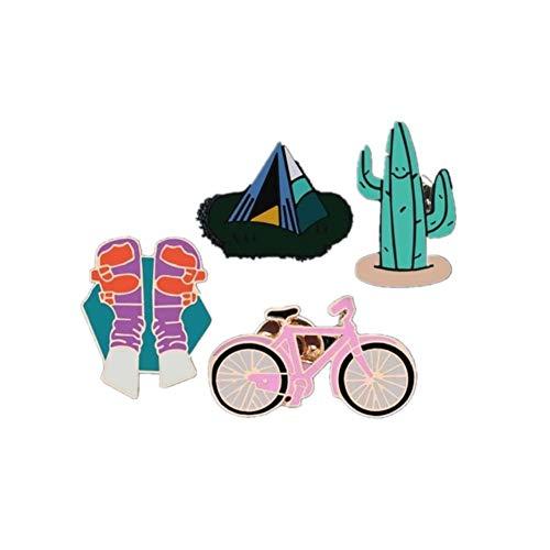 Broches Alfileres de dibujos animados Animal Pájaro Alpaca Taza en maceta Zapatos de batería Hojas Botón de metal Pin de solapa Insignia Joyería de moda-Juego 8