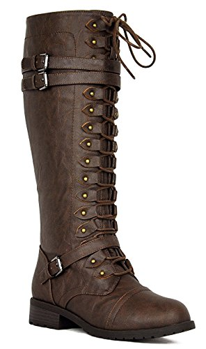 Wild Diva Women's Fashion Timberly-65 Military Knee High Combat Boots Shoes Brown sz 6