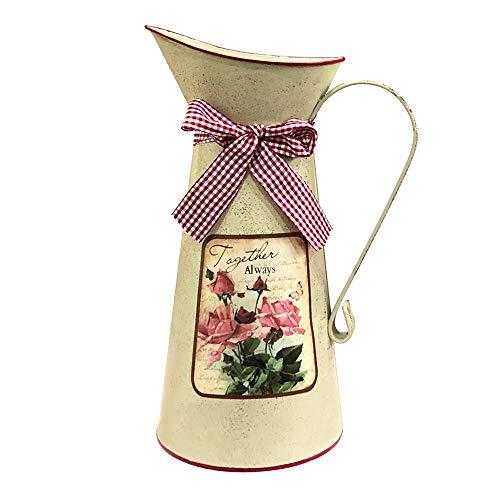 HIDERLYS jarrón de regadera de 10.5 Pulgadas de Alto rústico galvanizado Decorativo, jarrón de Flores Vintage con felicitaciones, Jarra de Campo para Sala de Estar, Dormitorio, Cocina, Oficina