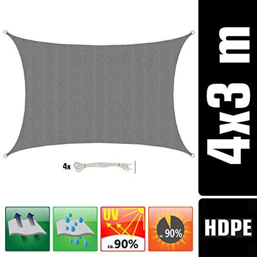 AMANKA Voile d'ombrage UV - 3x4 m HDPE Rectangulaire Protection Solaire Toile de Jardin Balcon Gris