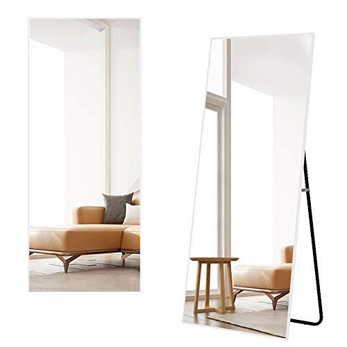 Miruo 全身鏡 スタンドミラー 大型 姿見鏡 全身ミラー 壁掛け鏡 アルミ合金フレーム おしゃれ スタイリッシュ 飛散防止 安心保証 160*50cm(ホワイト)