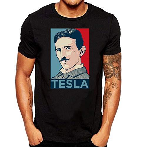SEVENSIQI Nikola Tesla Poster Hombre Short Sleeve Neck Camiseta/T Shirt Black
