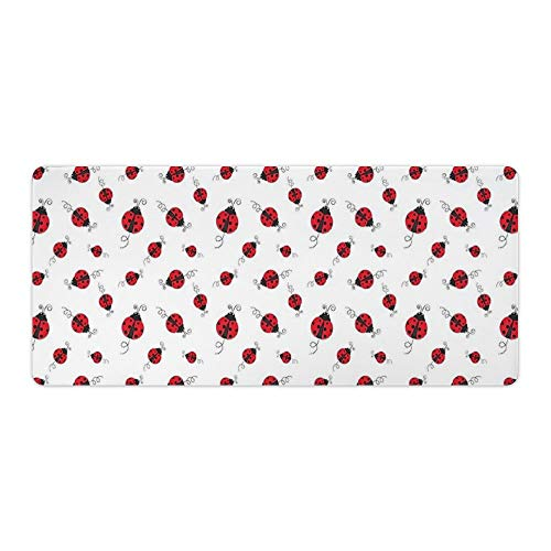 Extended Gaming Mouse Pad with Stitched Edges Waterproof Large Keyboard Mat Non-Slip Rubber Base Ladybug with Dotted Wings Swirls Curves Animal Desk Pad for Gamer Office Home 16x35 Inch