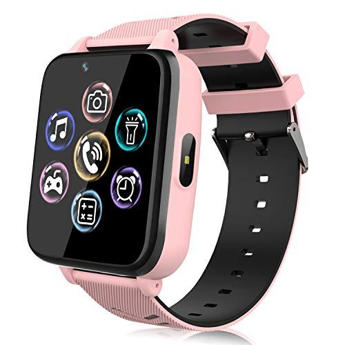 Smartwatch für Kinder, Uhr Telefon für Mädchen Jungen Touchscreen mit Musik Player, Spiel, Kamera, Taschenlampen, Wecker, Smart Watch Telefonieren Geschenk (Rosa)