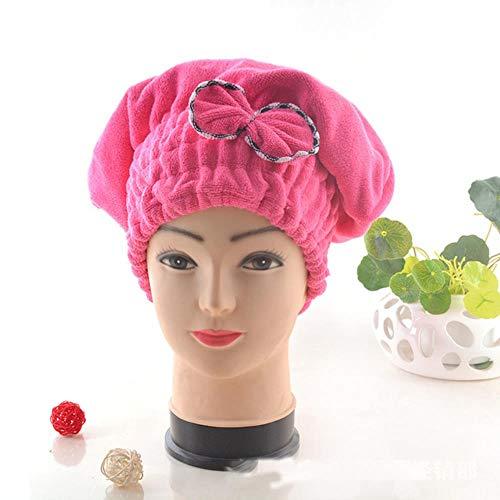 LinZX 2 pièces Princesse sèche Bowknot Chapeau Cheveux épaissi Haut Bonnet de Douche à séchage Rapide,Rose