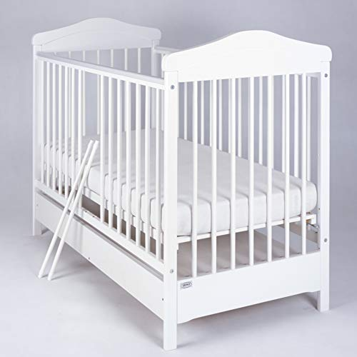 Wooden White Cot Bed'Hippo' with Drawer
