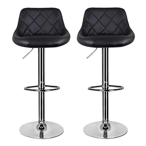 Bar Stool Breakfast Bar Stool with Chrome Footrest and Base Swivel Gas Lift Kitchen Stool for Breakfast Bar/Counter/Kitchen/Home Barstools (Black)