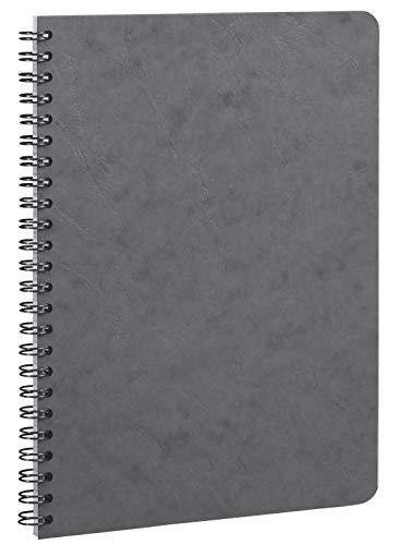 Clairefontaine 785365C - Un cahier à spirale Age Bag 100 pages 14,8x21 cm 90g lignées, couverture carte lustrée grain cuir, Gris
