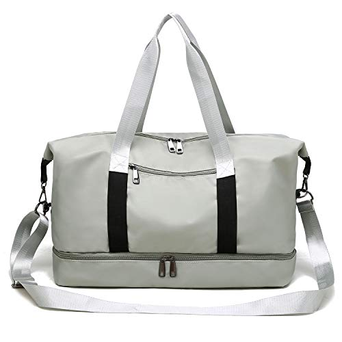 Gym Bag Sports Travel Duffel Bag with Shoes Compartment for Men and Women Lightweight Tote Shoulder Weekender Overnight Bag Grey