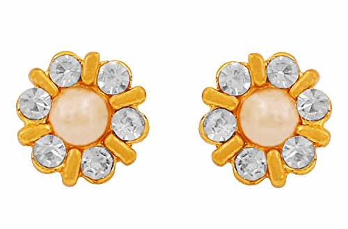 Touchstone Flower Golden Rhinestone Earrings For Women