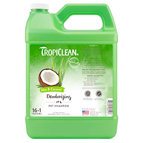 TropiClean Aloe & Coconut Deodorizing Shampoo for Pets, 1 gal - Helps Effectively Eliminate Dog and Cat Odors, Made in the USA