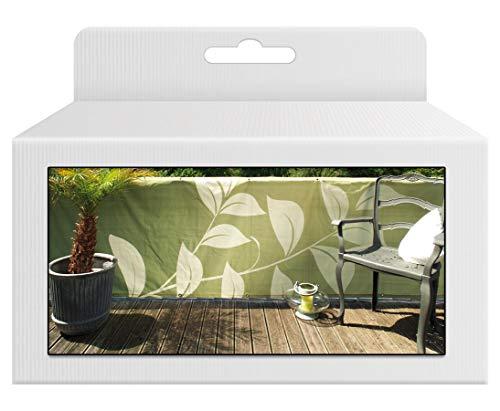 bambus-discount.com Balkonsichtschutz mit Natur Motiven, Bespannung grün farbig, Höhe 90cm x Länge 300cm - Sichtschutz für den Balkon Balkon Sichtschutzstoff