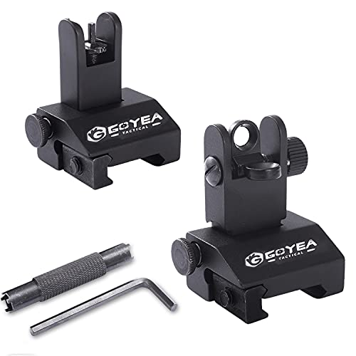 G GOYEA TACTICAL Flip Up Iron Sights Front and Rear Low Profile Sights Includes Front Sight Adjustment Tool Fit Picatinny Weaver Rails Mount Airsoft Accessories(Without Wooden Box)