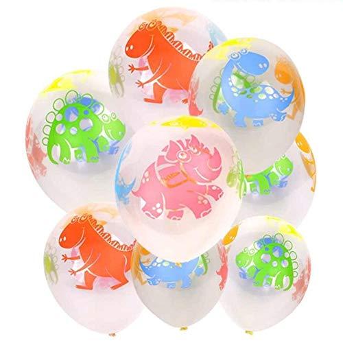 DIWULI, 10 Stück Dinosaurier Luftballons, Bunte Dino Latex-Ballons, lustiges Ballon-Set, Latex-Luftballon für Geburtstag, Kindergeburtstag Junge, Party, Dekoration, DIY Ideen, basteln, Geschenk-Deko