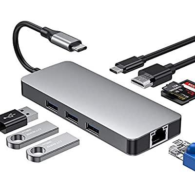 USB C Hub,8 in 1 Type-C HUB Adapter with USB C to 4K HDMI,3 USB 3.0,1Gbps Ethernet Port,SD/TF Card Reader,Type C Charging Port for MacBook/MacBook Pro 2017/2018 DELL,Samsung,Huawei Type C Devices
