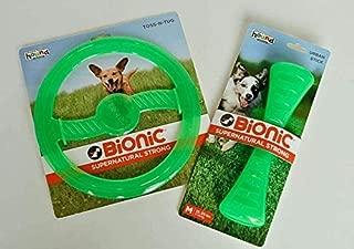Bionic Urban Stick & Tug-N-Toss Frisbee Durable Chew Toy (Bundle) Purple, Green, Orange