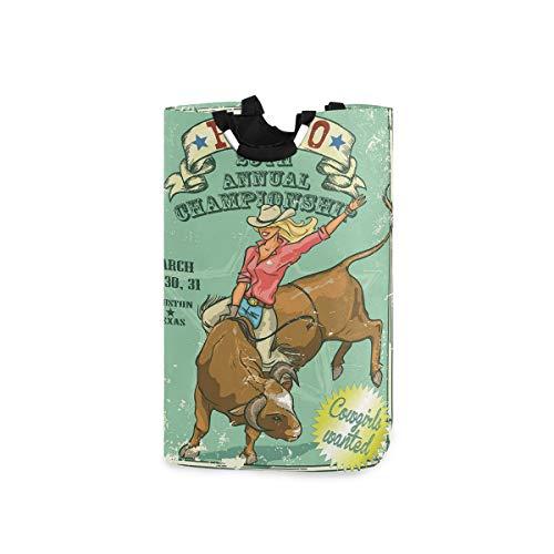 ZOMOY Multifunktionale Faltbarer Schmutzige Kleidung Wäschekorb,Rodeo Cowgirl auf dem Stierjahresmeisterschafts Weinleseplakat Muster Schmutz Design,Household Wäschebox Spielzeug Organizer