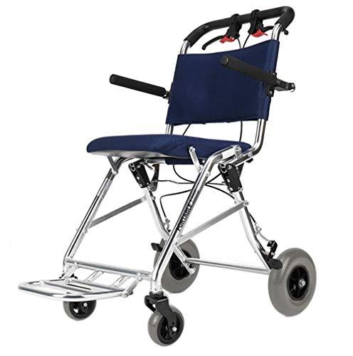 Y-L lichtgewicht rolstoelen voor volwassenen, aluminium opvouwbare doorreisstoel met remmen, versturen opbergtas, vliegtuig outdoor gebruik maximaal Suport gewicht 100 kg