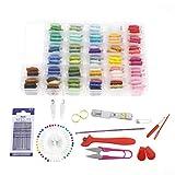 Create Idea Kit de 16 Hilos de Bordado con Caja de Almacenamiento organizadora, Incluye 100 Hilos de...