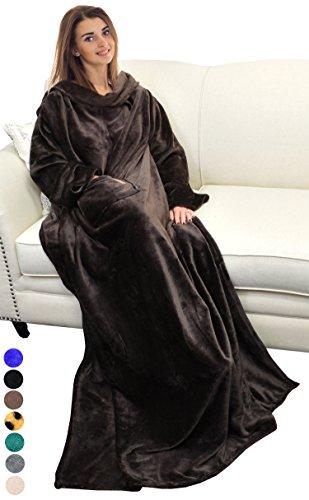Catalonia TV-Decke mit Ärmeln und Tasche, Flauschig Weiche und Warme Tragbar Kuscheln Snuggle Decke Mikrofaser-Ärmeldecke Robe ideal für Frauen und Männer, 185 cm x 130 cm, Braun