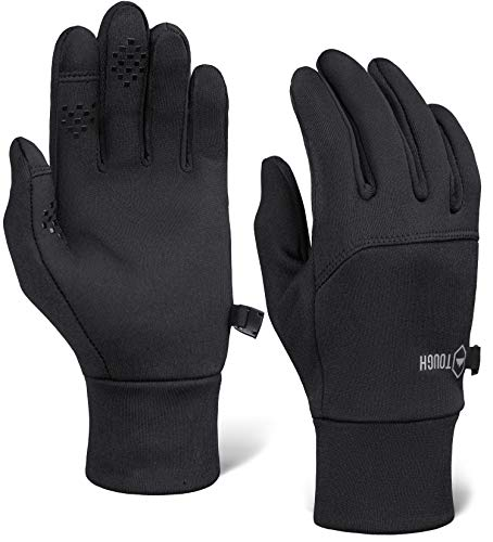 Touch Screen Black Running Gloves for Men & Women - Thermal Winter Glove Liners for Texting, Cycling & Driving